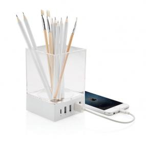 HUB con 4 porte USB e portapenne trasparente. Include un connettore C ...
