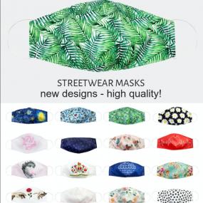 Mascherina Streetwear Lavabile a 60 gradi a 2 strati, esterno in micro...
