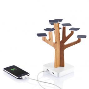 Powerbank solare di design in bambù, batteria 1350mAh ricaricabile al...