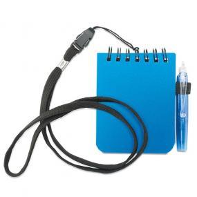 Mini block notes completo di penna a sfera refill blu e laccetto da co...