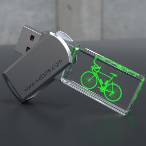 Chiavetta di memoria in cristallo da 4GB, con vostro logo inciso a las...
