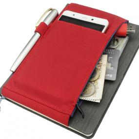Custodia porta smartphone, penna e tasca con zip documenti, card e var...
