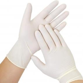 Confezione da 100 Guanti in lattice non sterili monouso senza polvere....