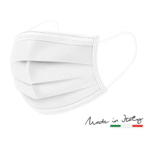 Mascherina Chirurgica BIANCA Made in Italy, Dispositivo Medico in Clas...