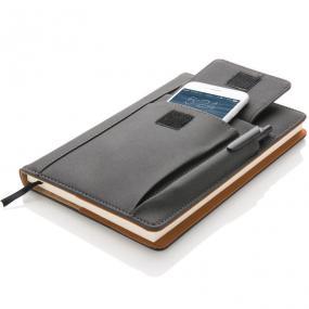 Taccuino con custodia in PU porta smartphone 10x14cm, taschino porta p...