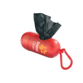 Porta sacchetti (10) a forma cilindrica con moschettone per la rimozio...