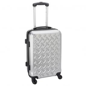 Trolley rigido argento opaco, manico estensibile in alluminio, 4 rotel...
