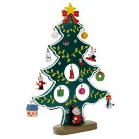 Albero di Natale in legno con 12 differenti decorazioni...