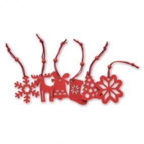 Set 6 decorazioni: albero di natale, fiocco di neve, re...