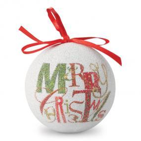 Palla di Natale in plastica perlata con nastro per appe...
