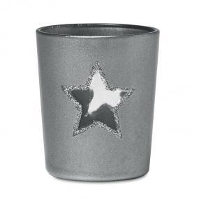 Portacandela in vetro e glitter con stella forata. Conf...