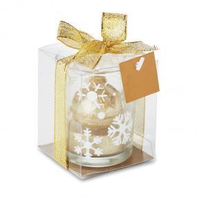 Portacandele in vetro con decori natalizi glitterati. P...