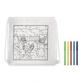Sacca per bambini con 5 pennarelli. 200gr/mq