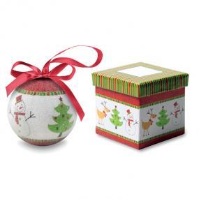 Palla di Natale con finitura perlata e nastrino, in sca...