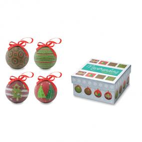 Set 4 palle di Natale in finitura perlata. Confezionate...