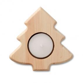 Porta tea light in legno a forma di albero di Natale. T...