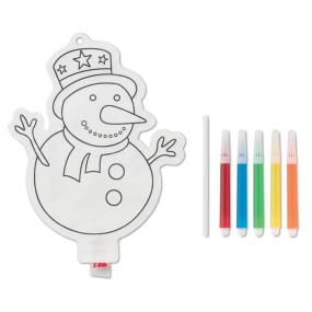 Set per colorare con pupazzo di neve. Include 5 pennare...