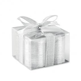 Set 4 candeline silver in vetro. Confezionato in scatol...