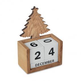 Calendario Natalizio perpetuo da scrivania. In legno. T...