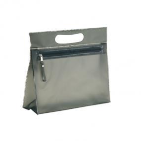 Portatrucchi in PVC con chiusura a zip e manico.