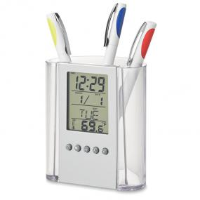 Portapenne con calendario, orologio e termometro. 1 pil...