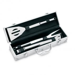 Set 3 utensili in acciaio inossidabile per BBQ in valig...