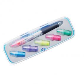 Penna a sfera 3 colori ed evidenziatore 6 colori in cus...