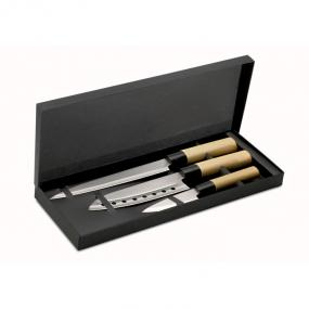 Set 3 coltelli stile giapponese con lame in acciaio ino...