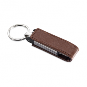 USB Flash Drive in metallo e pelle con anello portachia...