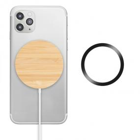 Caricabatterie wireless magnetico in bamboo. Uscita: DC...