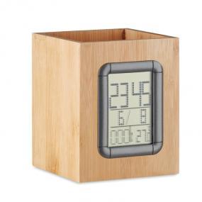 Portapenne in bamboo con calendario, sveglia e termomet...