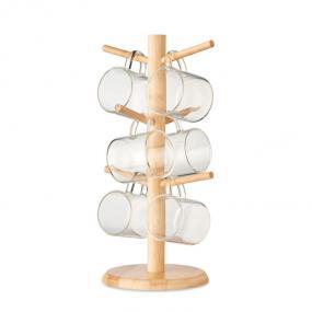 Set portatazze in bamboo. Include 6 tazze in vetro boro...