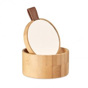 Piccolo portagioie in bamboo con specchio removibile