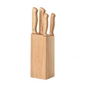 Set composto da ceppo e 6 coltelli in legno. I coltelli...