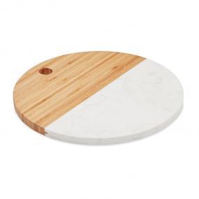 Piatto da portata in marmo e bamboo. Forma rotonda.