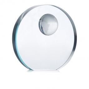 Fermacarte in vetro rotondo con inserto