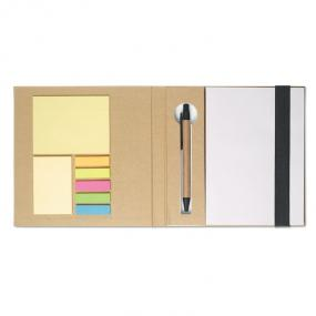 Notebook in carta riciclata, con stick notes, penna in ...