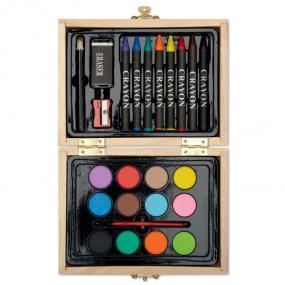 Set pittura in confezione di legno, include: 8 pastelli...