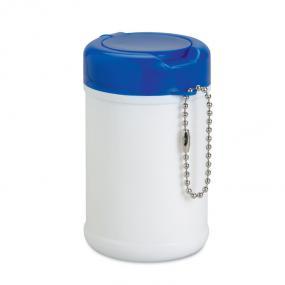 Salviette umidificate in confezione di plastica bianca....