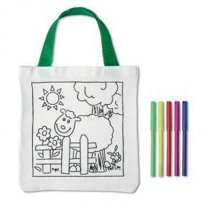 Shopper in cotone con 5 pennarelli colorati. Colorabile...