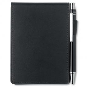 Notebook formato A7. 60 fogli, penna con refill blu con...