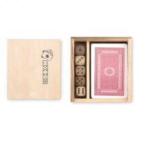 Set gioco in scatola in legno. Contiene 54 carte da pok...