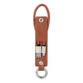 Portachiavi in PU con cavo di ricarica USB micro-B 2A.