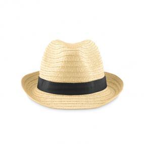 Cappello di paglia naturale con banda colorata in coton...
