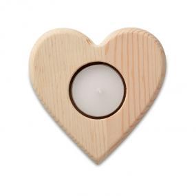 Porta tea light in legno a forma di cuore. Tea light in...