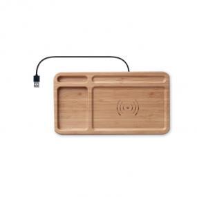 Portaoggetti da tavolo in bamboo con caricatore wireles...