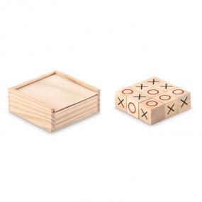 Gioco del tris in scatola di legno.
