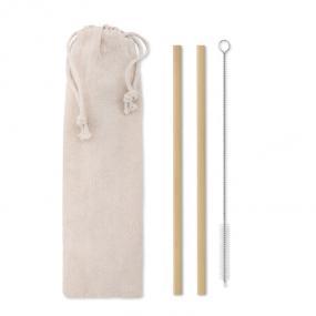 Set di 2 cannucce di bamboo riutilizzabili, con spazzol...