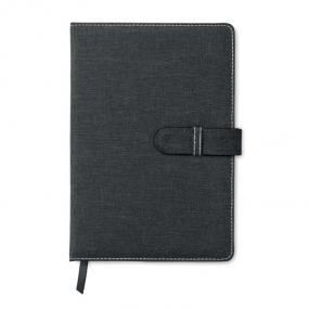 Notebook A5 in canvas in cotone (effetto jeans) con chi...