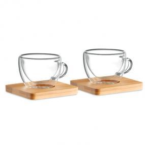 Set di 2 tazzine da caffè in vetro con piattino in bam...